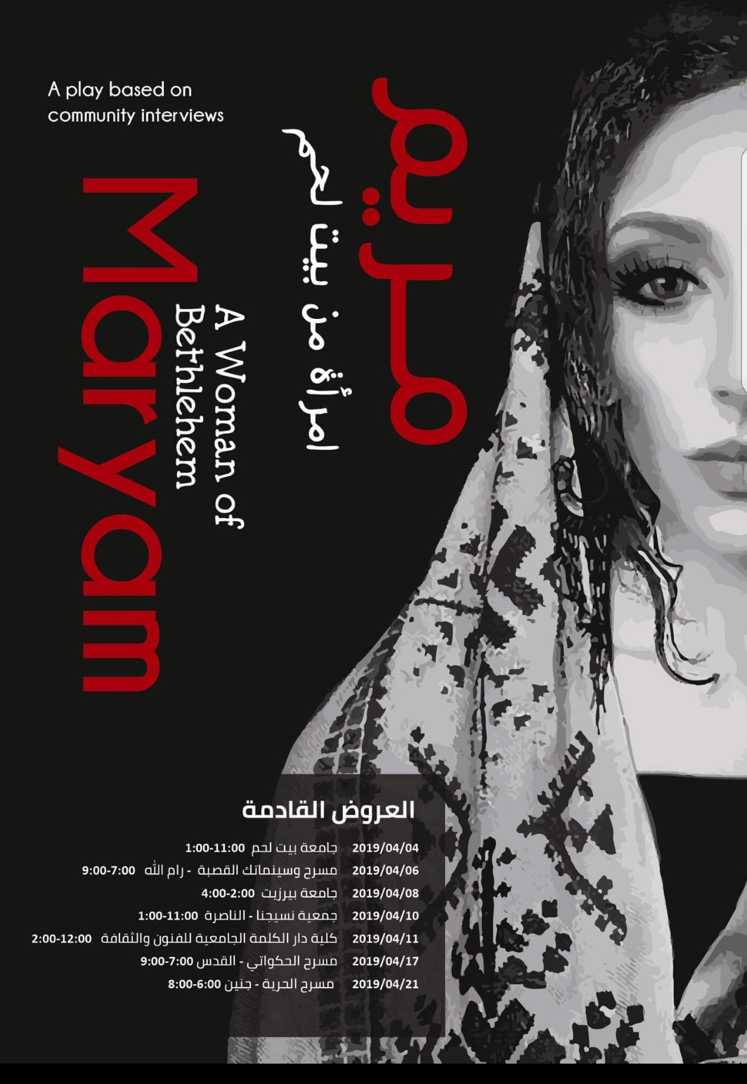 """Interview by Victoria Rue - Feminisms and Religions in the Arab World - Theater Play Production """"Maryam: A Woman of Bethlehem"""" - Bethlehem, Fall 2018"""